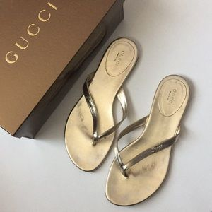GUCCI Leather Flip Flop Thong Sandals 39